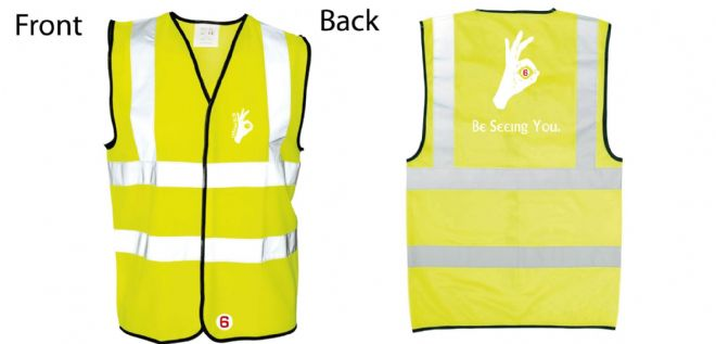 Hi-Vis Waistcoat Be Seeing you Hand Logo Simply Loveleh Brotherhood